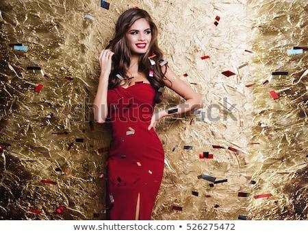 uśmiechnięta · kobieta · suknia · wieczorowa · ludzi · wakacje · glamour · czarny - zdjęcia stock © dolgachov