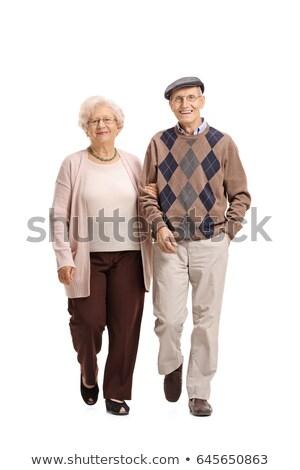 старые · бабушки · деда · белые · волосы · свитер · брюки - Сток-фото © urchenkojulia