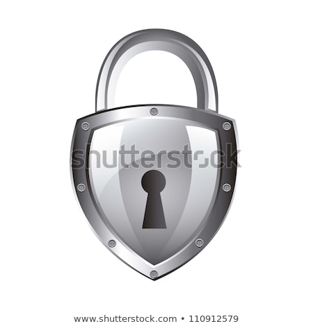 Closed lock icon on silver button Stock photo © aliaksandra