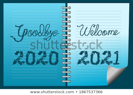 Vaarwel Blauw fiche hand schrijven transparant Stockfoto © ivelin