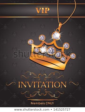 diamond queen crown vip invitation card vector illustration stock photo © carodi
