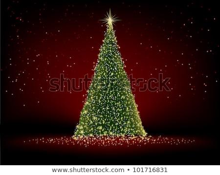 Foto stock: Abstrato · verde · árvore · de · natal · eps · vermelho · vetor