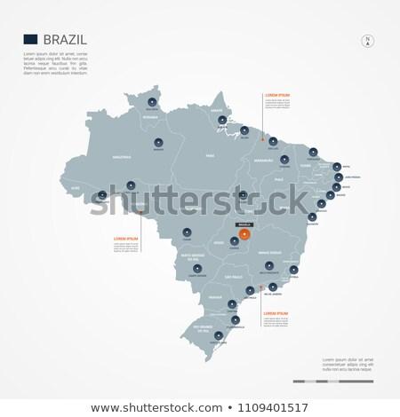 orange button with the image maps of button brazil stock photo © mayboro