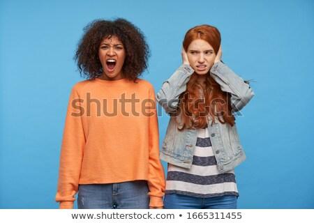 Schoonheid bruin haar witte jas schreeuwen gelukkig Stockfoto © wavebreak_media
