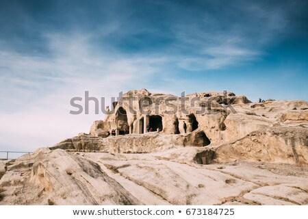 Híres kő város Grúzia panoráma ősi Stock fotó © joyr