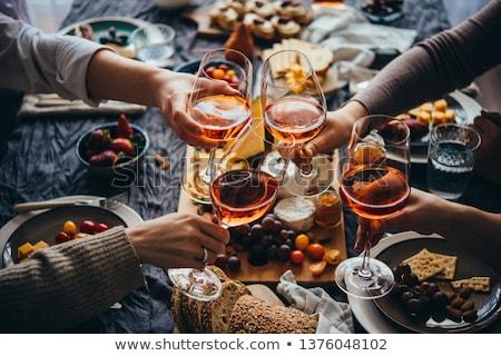 ősz bor őszi üveg tengeri kilátás étel Stock fotó © tatiana3337