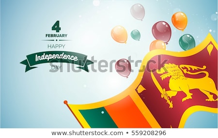 Flying balloons with flag of sri lanka Stock photo © MikhailMishchenko
