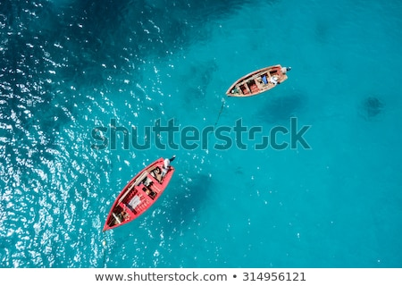 漁師 · ボート · ターコイズ · 水 · ビーチ - ストックフォト © juhku