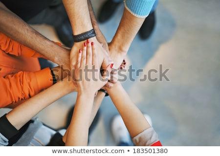 Photo stock: Jeunes · mains · ensemble · motivation · équipe