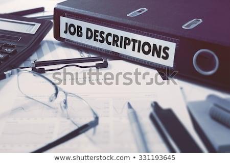 Gyűrű felirat állás dolgozik asztal irodaszerek Stock fotó © tashatuvango