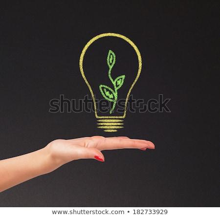 Kéz tart fényes villanykörte kréta tábla Stock fotó © tetkoren