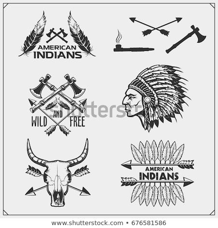 Set of american indian emblems Stock photo © netkov1