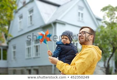 силуэта · детей · закат · пруд · счастливым · ребенка - Сток-фото © paha_l