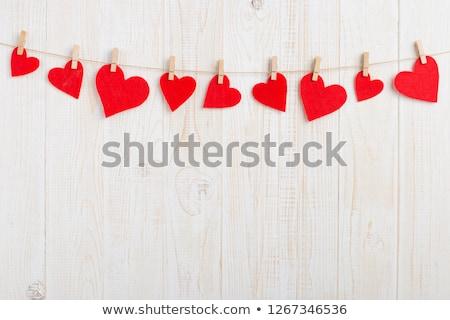 Vermelho coração rústico madeira cópia espaço valentine Foto stock © teerawit