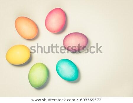 Sechs gefärbt Ostereier Kopie Raum Karton Stock foto © ozgur