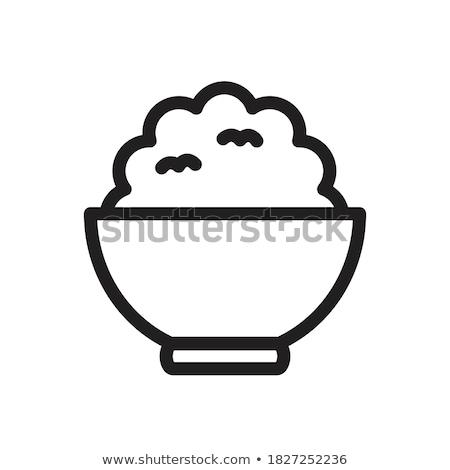 Cocido arroz placa blanco alimentos primer plano Foto stock © Digifoodstock