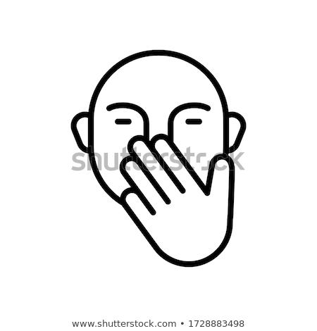 Hand with microbes line icon. Stock photo © RAStudio