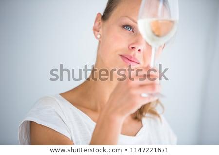 женщины вино студию девушки счастливым Сток-фото © stockfrank