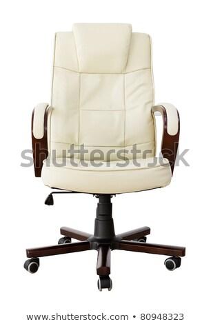 kahverengi · deri · ofis · koltuğu · yalıtılmış · beyaz · ofis - stok fotoğraf © elnur