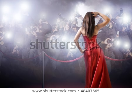 パパラッチ · 少女 · カメラマン · 待って · ショット · 女性 - ストックフォト © konradbak