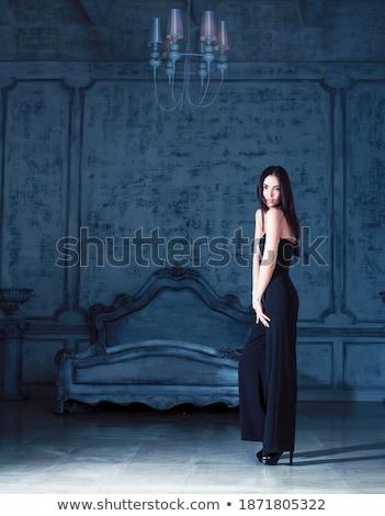 beauty young brunette woman in luxury home interior fairy bedroom grey stylish stock photo © iordani