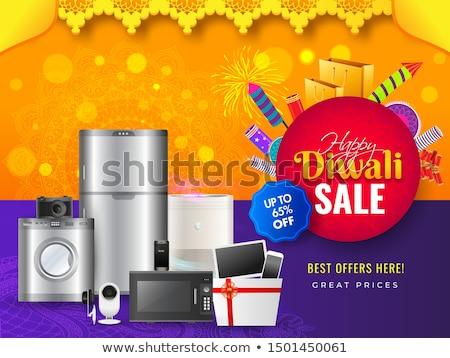 Diwali vásár szalag poszter tűzijáték gyertya Stock fotó © SArts