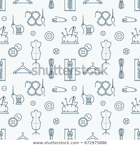 thin line seamless pattern with sewing tools stock photo © vectorikart