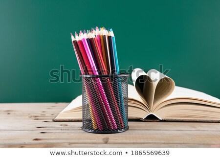 Heart shaped pen holder Stock photo © gsermek