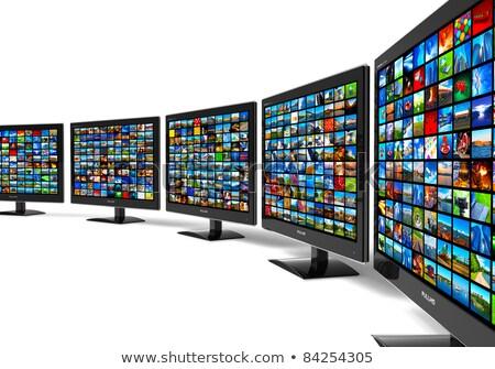 Szélesvásznú hdtv LCD monitor fehér iroda Stock fotó © kayros