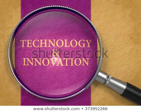 Tecnología innovación lupa papel viejo oscuro lila Foto stock © tashatuvango