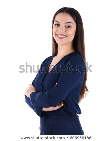 Fiatal gyönyörű barna hajú sötét kék ruha Stock fotó © julenochek