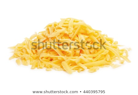 Stock photo: Grated cheese and grater isolated. Food Ingredients on white bac