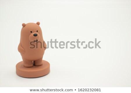 Közelkép medve szobrocska pénz pénzügy fekete Stock fotó © monkey_business