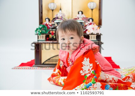 Japán nő üdvözlőlap ünnep baba ventillátor Stock fotó © Olena