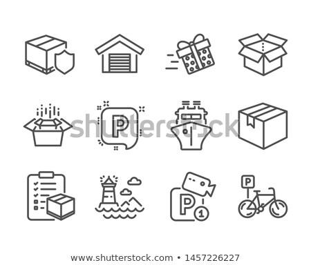 karton · pakket · vak · lijn · icon · vector - stockfoto © rastudio
