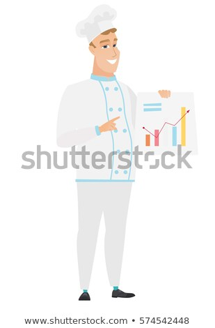 Caucasian chef cook showing financial chart. Stock photo © RAStudio