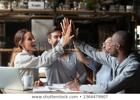 Man lachend zakenman werken geluk binnenshuis Stockfoto © IS2