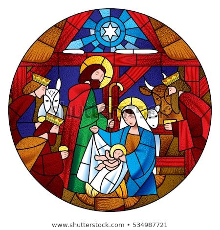 Vidrieras Navidad ilustración símbolos vidrio ventana Foto stock © lenm
