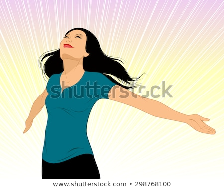 Smiling Woman Spread Her Arms Stock photo © filipw