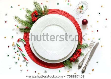 エレガントな · クリスマス · 表 · 赤 · 飾り · 眼鏡 - ストックフォト © jarenwicklund