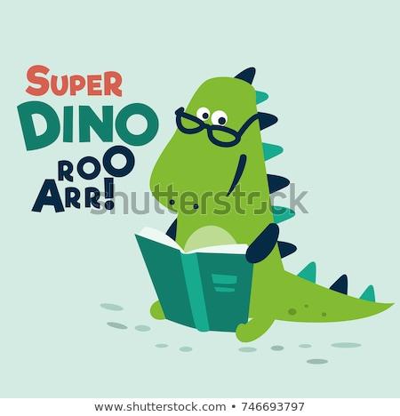 Baba dinoszauruszok könyv olvas színes állat Stock fotó © lenm