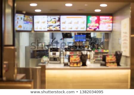 Fastfood restaurant winkel gebouwen isometrische ingesteld pizzeria Stockfoto © studioworkstock