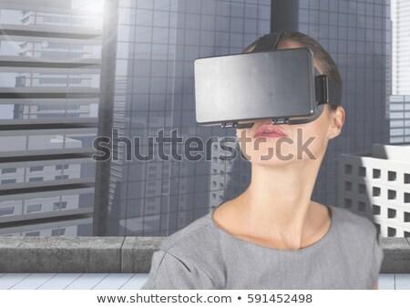 Empresário virtual realidade fone branco negócio Foto stock © wavebreak_media