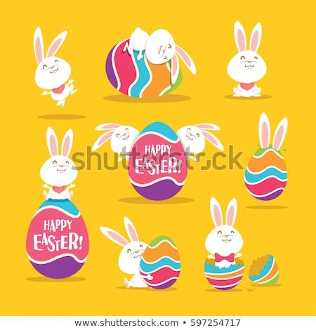 Gelukkig gekleurd easter egg cartoon mascotte karakter Stockfoto © hittoon