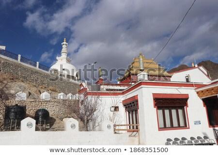 Buddhist stupa (chorten) on a hilltop in Himalayas Stock photo © dmitry_rukhlenko