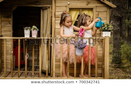Two sisters playing in tree house Stock photo © Kzenon