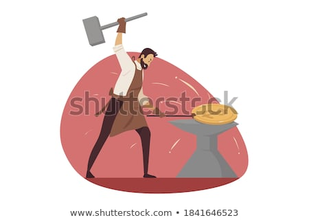 Stock photo: Businessman blacksmith forges money on the anvil
