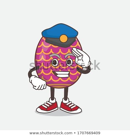 Karikatür gülen polis memuru tavşan Stok fotoğraf © cthoman