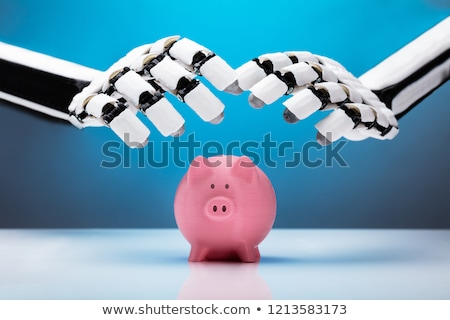 Robot Protecting Piggybank Stock photo © AndreyPopov