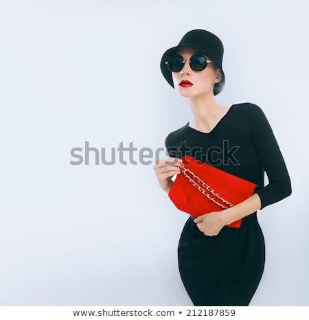 美しい · 小さな · 女性 · 着用 · 赤いバラ · ドレス - ストックフォト © acidgrey